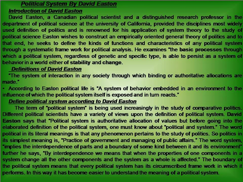 Visit To Learn: Model of Political System by David Easton