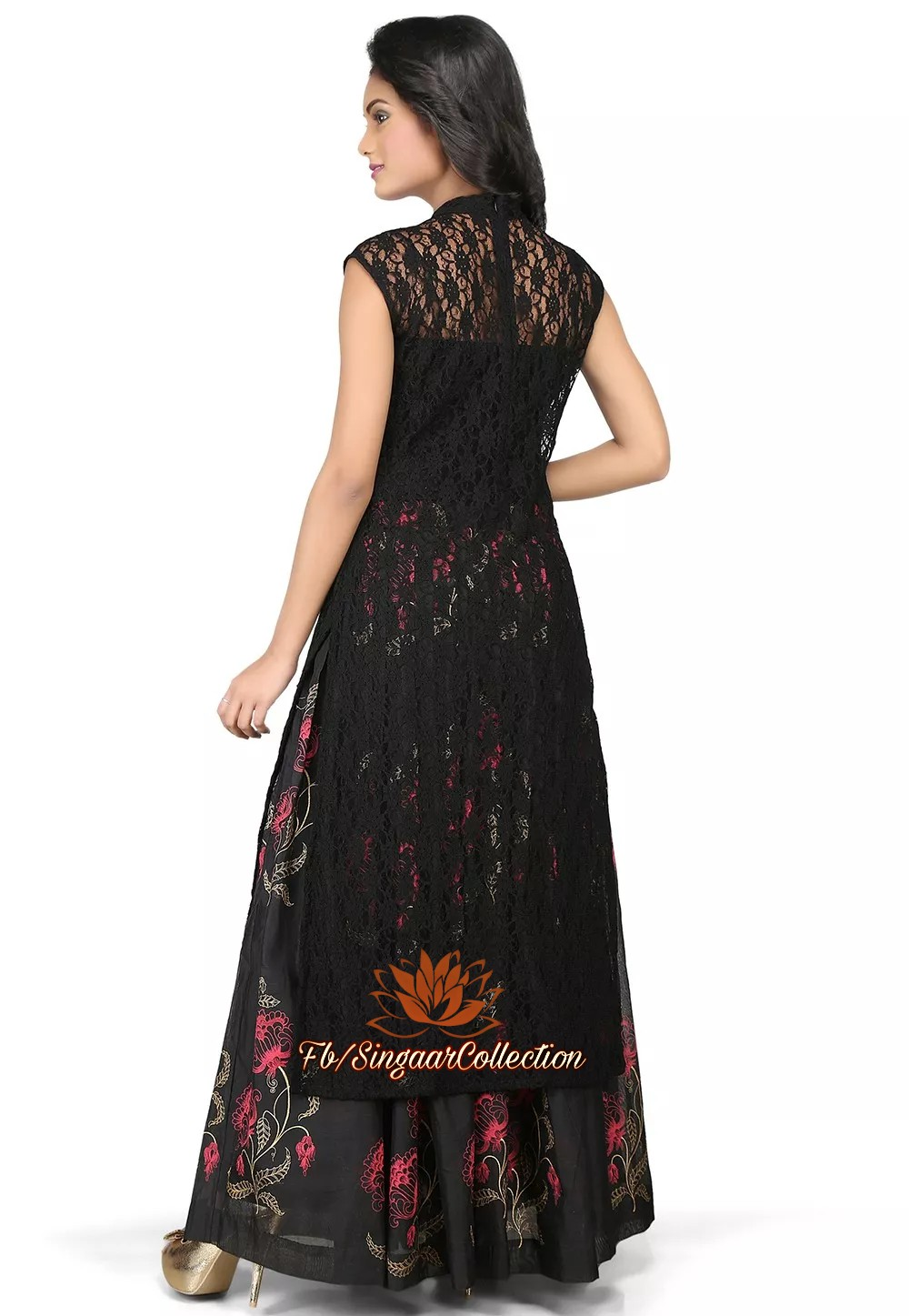 ea2e6eb53c Embroidered Georgette Pakistani Suit in Black Dress - Singaar Collection