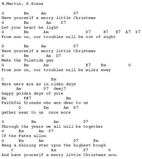 Have Yourself A Merry Little Christmas Chords.Christmas Carols Lyrics And History Have Yourself A Merry