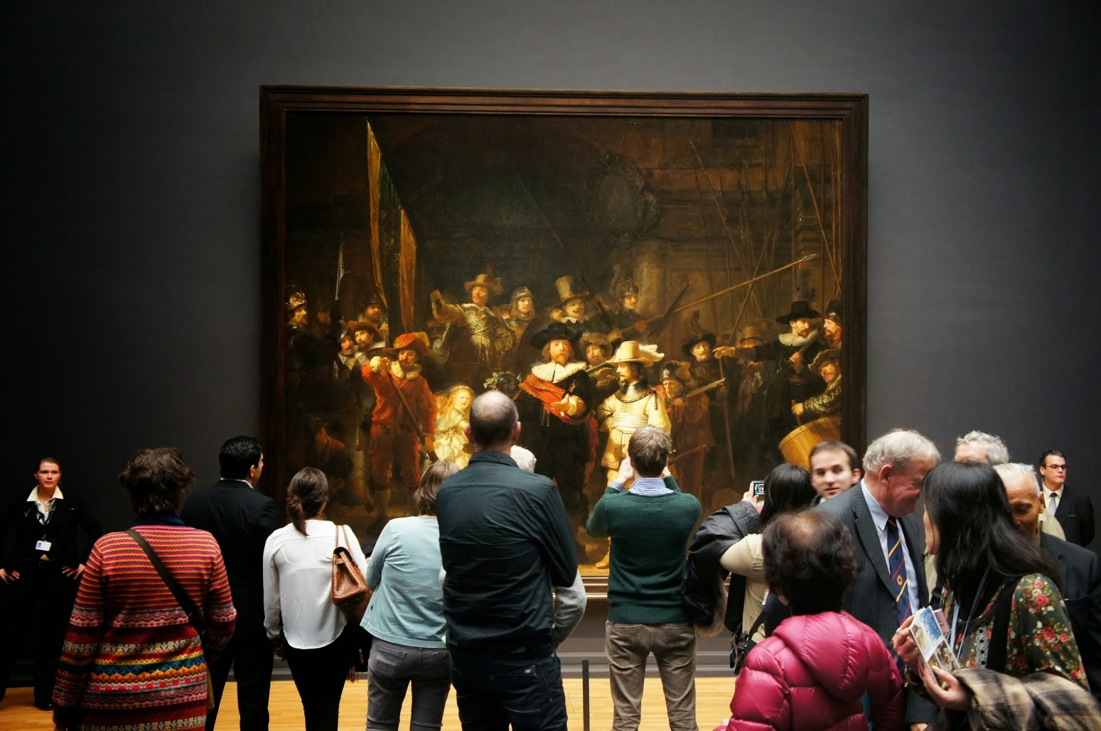 Amsterdam - Night Watch being watched by patrons at the Rijksmuseum