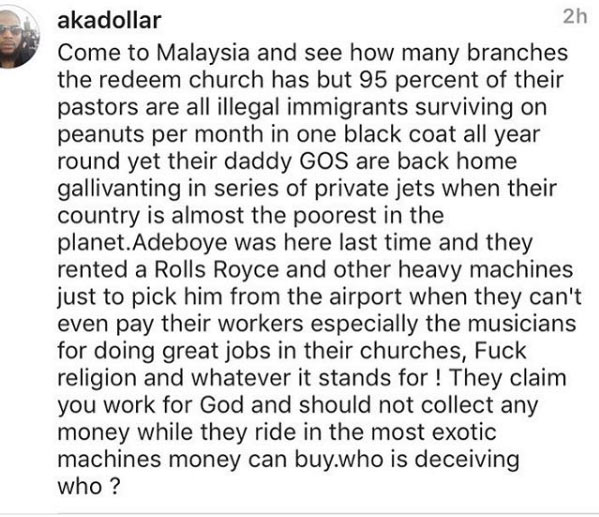 Man blasts RCCG for paying pastors peanuts in Malaysia