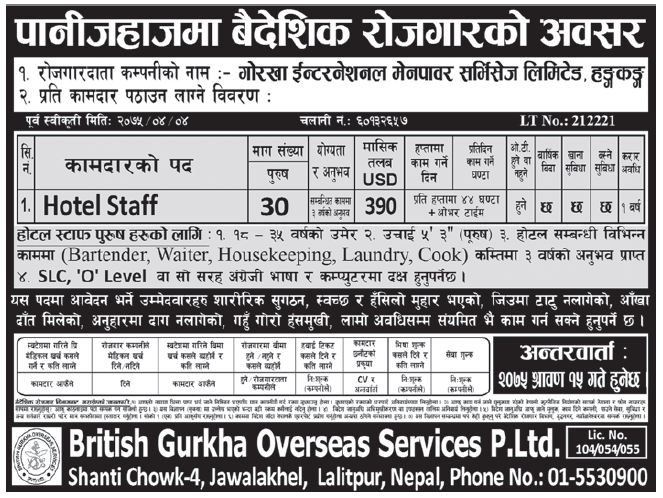 Jobs in Hongkong for Nepali, Salary Rs 42,120