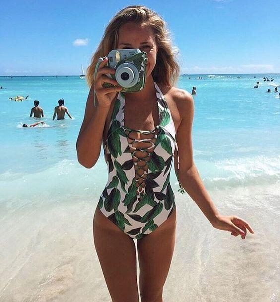 green print swimwear