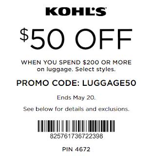 Kohls coupon $50 OFF $200 Luggage purchase