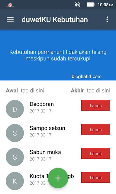 Daftar kategori kebutuhan di aplikasi duwetku android