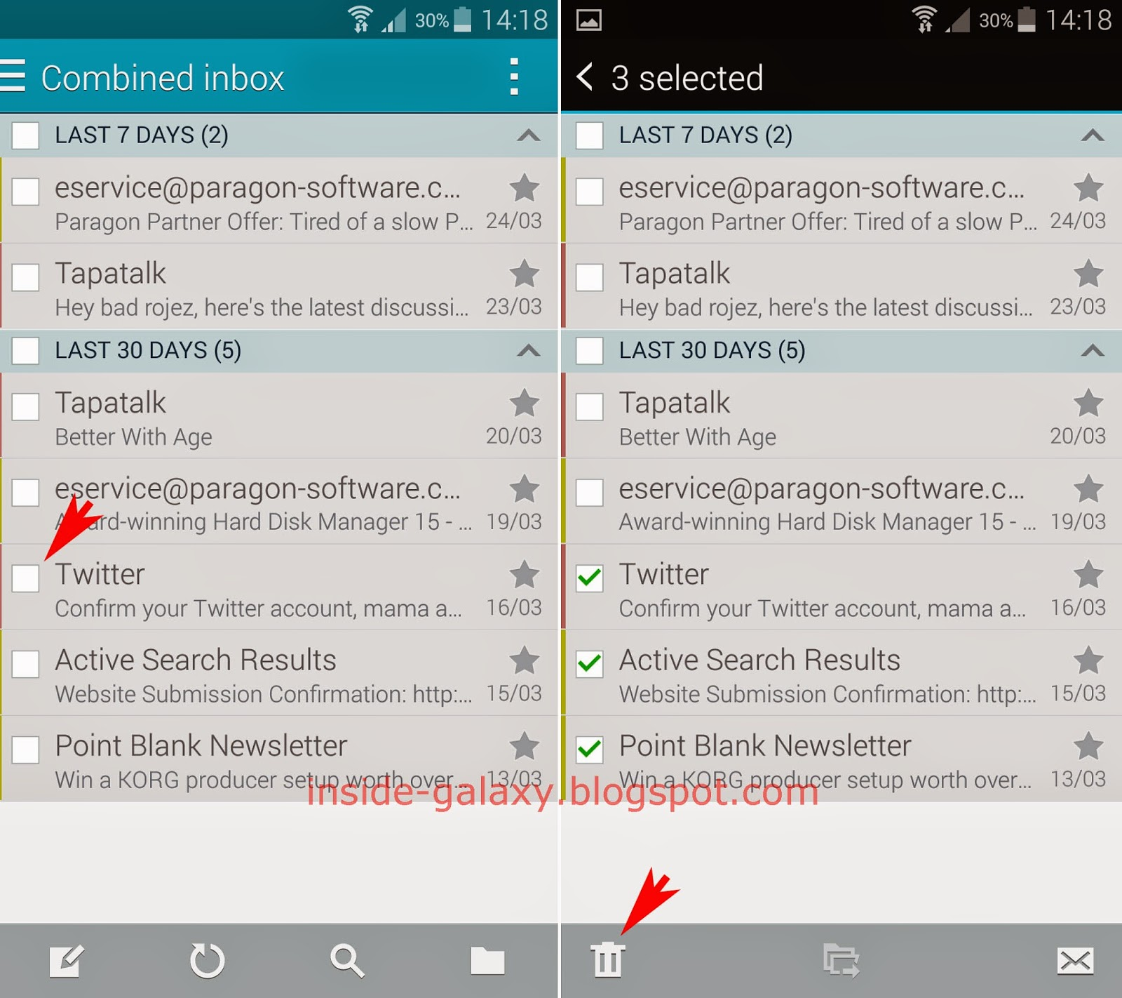 Samsung Galaxy S5: How to Delete Email Messages in the Stock