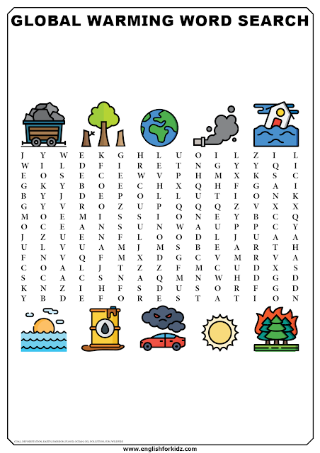 Global warming word search puzzle - printable worksheets for ESL and EFL students