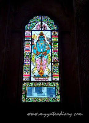 Dwarpal Jaya stained glass window vedic art gallery - ISKCON Jaipur, Rajasthan