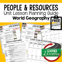 people and resources lesson plans, world geography lesson plans, geography activities, world geography games, world geography middle school, world geography high school