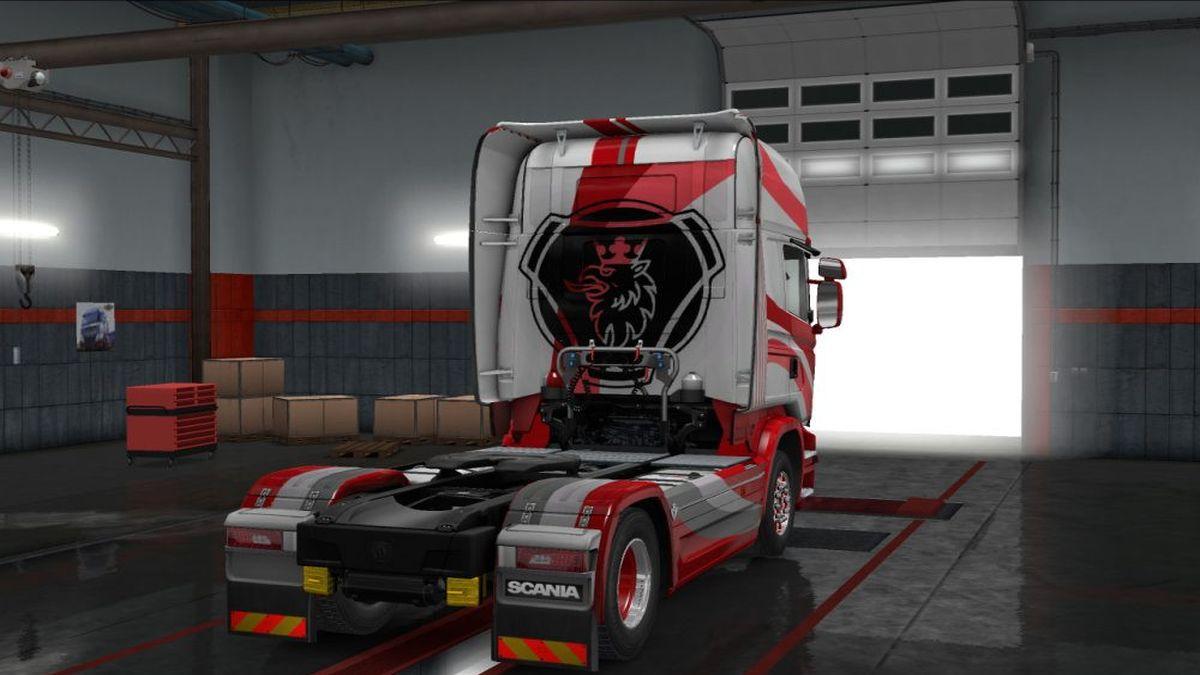 Red & White SX Skin for Scania Streamline