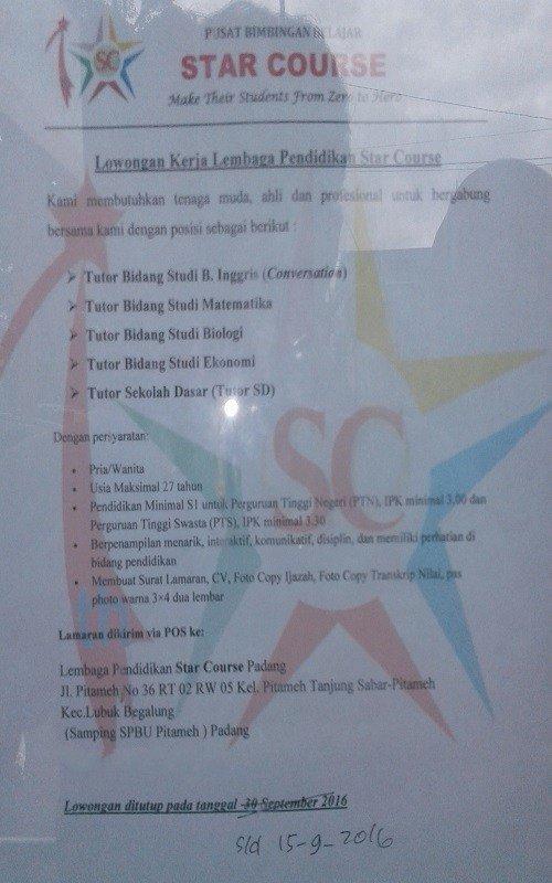 Lowongan Kerja di Padang – Star Course – Tenaga Pengajar (September 2016)