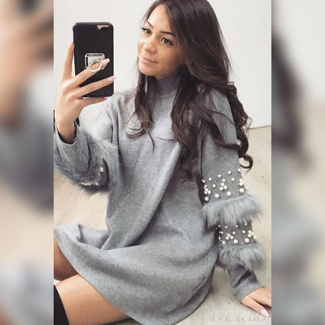 Μακρυμάνικο γκρι  μπλουζοφόρεμα EFREN GREY