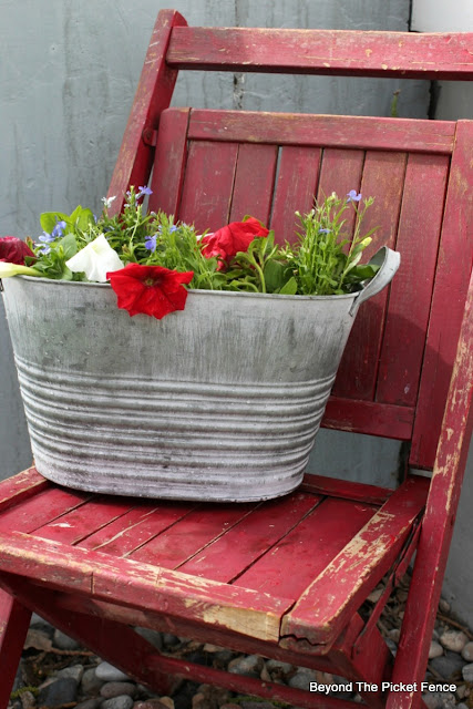 metal bucket, junk planters, upcycled, planters, garden junk, http://bec4-beyondthepicketfence.blogspot.com/2016/05/junk-planters.html
