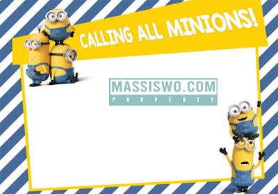Desain template undangan ulang tahun tema Minions