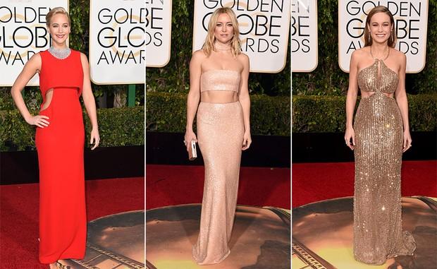 Jennifer Lawrence, Kate Hudson e Brie Larson apostaram em looks com a barriga de fora (Foto: AFP)