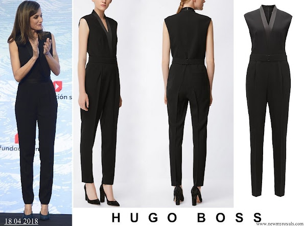 Queen Letizia wore HUGO BOSS V neck jumpsuit with satin trims