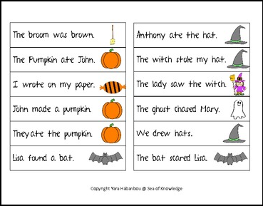 The Best Of Teacher Entrepreneurs Ii Free Language Arts Lesson Spoooooky Halloween Subject Verb Sort Vocab And Spelling Activity Grades 1 2