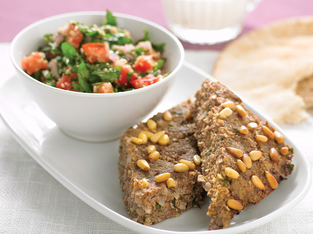 This traditional Middle Eastern dish is so versatile in how it Baked kibbeh with tabouli recipe