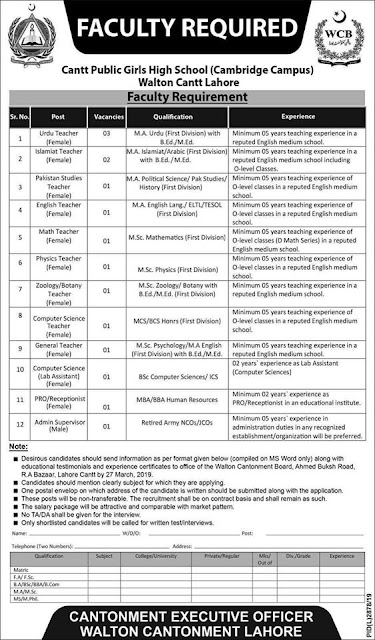 Cantt Public Girls High School Cambridge Campus Lahore Jobs 2019