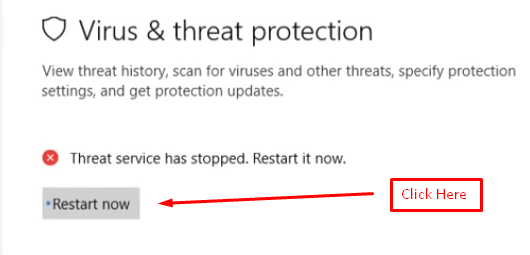 Windows defender virus and threat protection repair