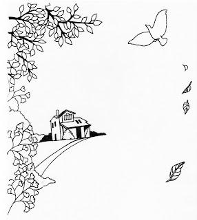 絵画調イラストから起こした柿の庭デザインのイラスト