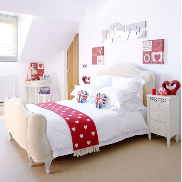 Cream and Red Country Bedroom