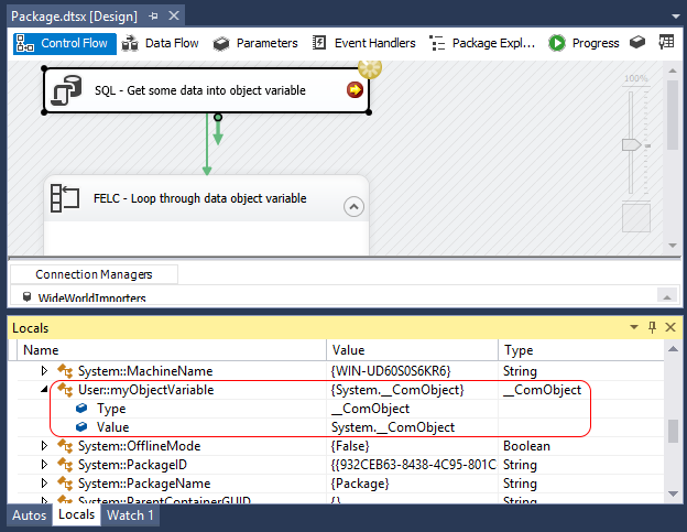 Microsoft SQL Server Integration Services: Read content of Object
