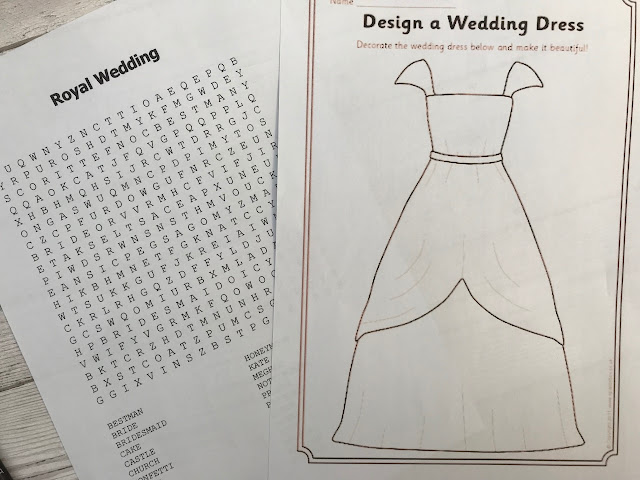 Printables showing a wordsearch and a wedding dress colouring sheet