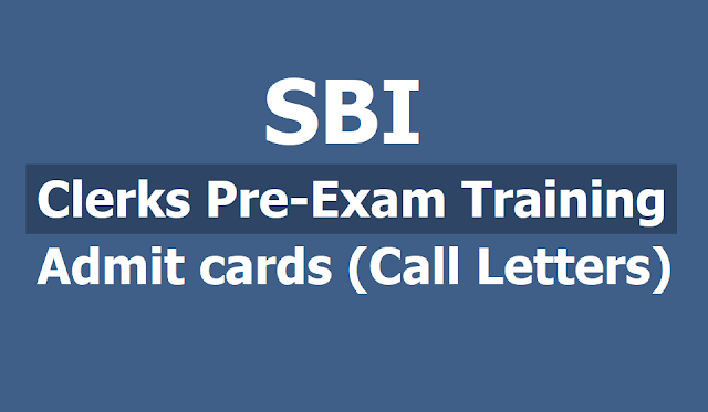SBI Clerks Pre-Exam training Admit cards (Call Letters) 2019 released  for Junior Associates