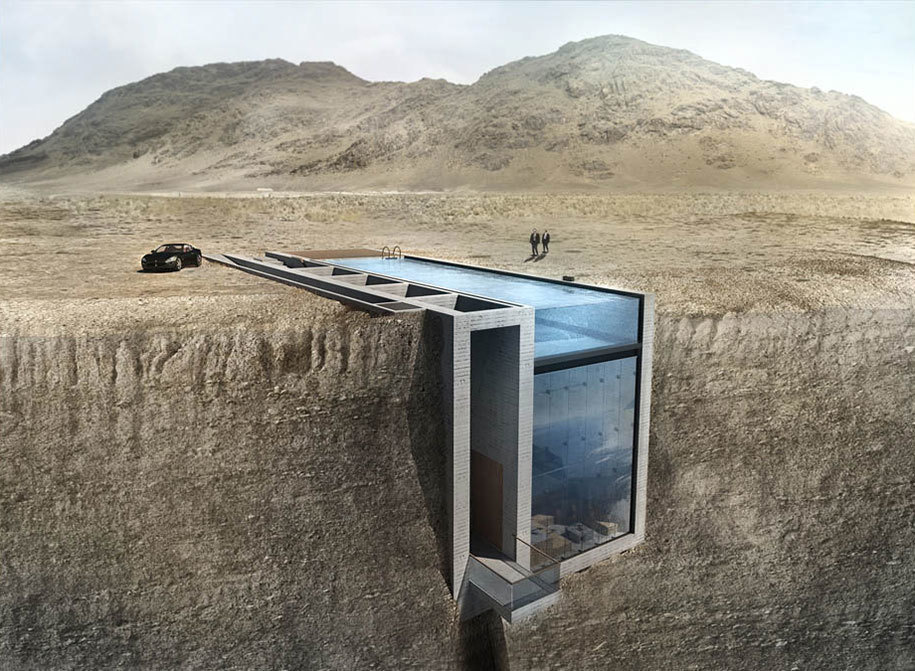 The concept for the house is to literally sit in a crevice on a high cliff. - This Alternative Housing Design Is Letting People LITERALLY Live On The Edge.