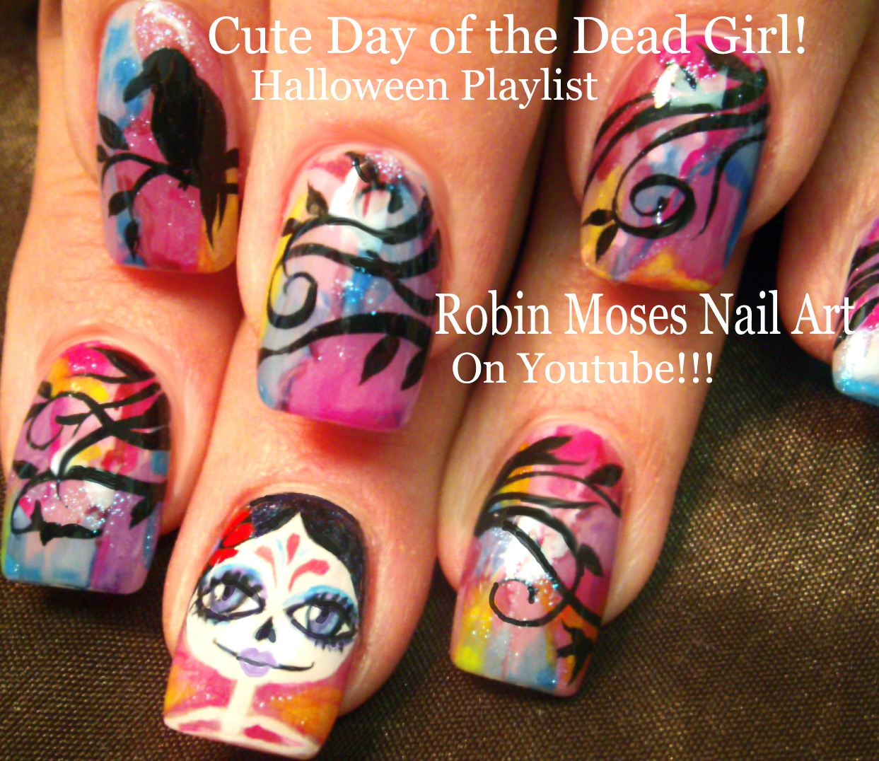 Nail Art by Robin Moses: Day of the Dead Nails! Halloween is rolling ...