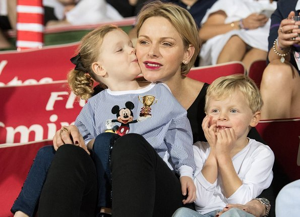 Princess Charlene of Monaco, her children Prince Jacques and Princess Gabriella