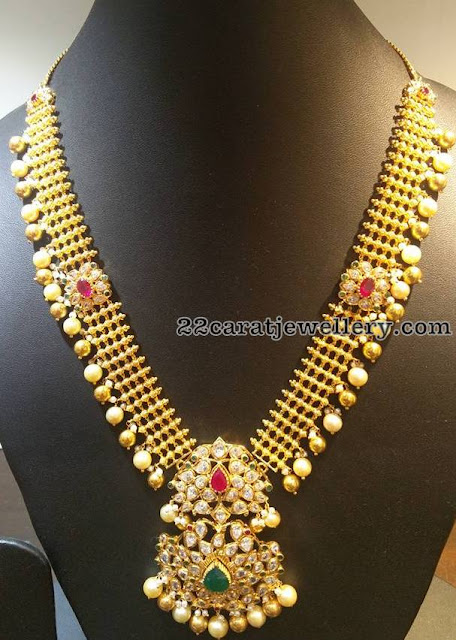 Antique Floral Haram with Pearls Drops