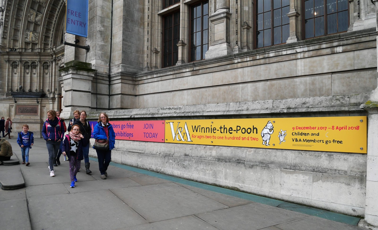 The Winnie the Pooh: Exploring a Classic exhibition sign outside the Victoria and Albert Museum