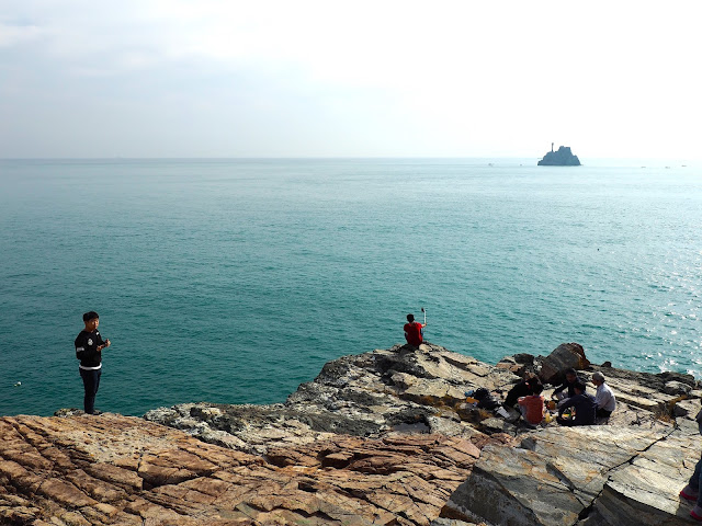 Ocean view of Teapot Island, taken from Sinseon Rock, Taejongdae Park, Busan, South Korea