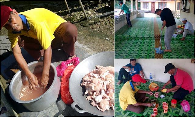 Gotong-royong - Majlis Rumah Terbuka Aidilfitri Surau Muhajirin