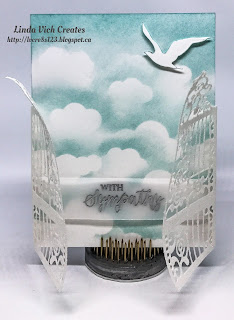 Linda Vich Creates: Pearly Gates Sympathy Card. The Detailed Gate Thinlits are used as the gates to Heaven in this sympathy card.