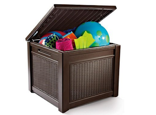 Keter All-Weather Rugged Plastic Outdoor Patio Pool Storage Table