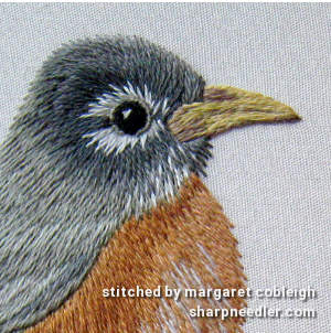 Robin on Blossom Branch (by Tanja Berlin): Detail of thread painted head