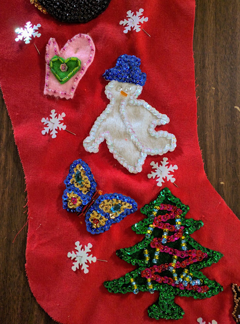 Beaded Christmas stocking: snowman, tree, mitten, butterfly