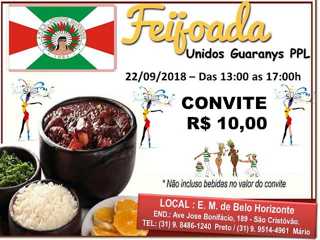 """Quem  gosta de Feijoada um(a) bom(a) sujeito(a) é. Feijoada da Unidos do Guarani, """"O índio está voltando""""."""