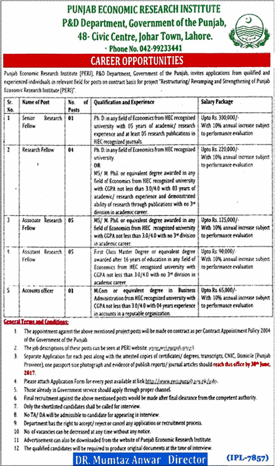 Punjab economic research institute lahore jobs 2017 june position keywords falaconquin