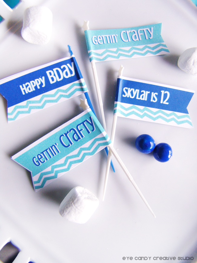 gettin crafty drink flags, happy birthday drink flags, birthday decor flags
