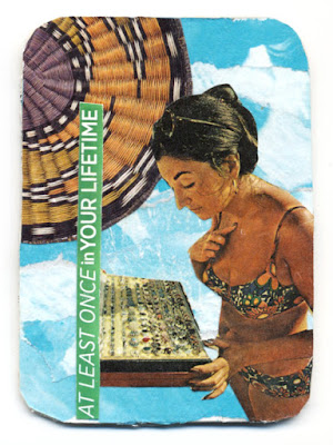 paper collage artist trading card