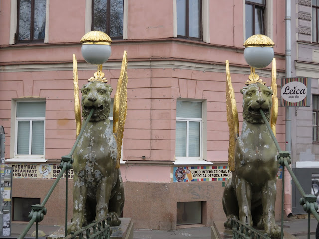 Winged griffins on a bridge in St. Petersburg, Russia