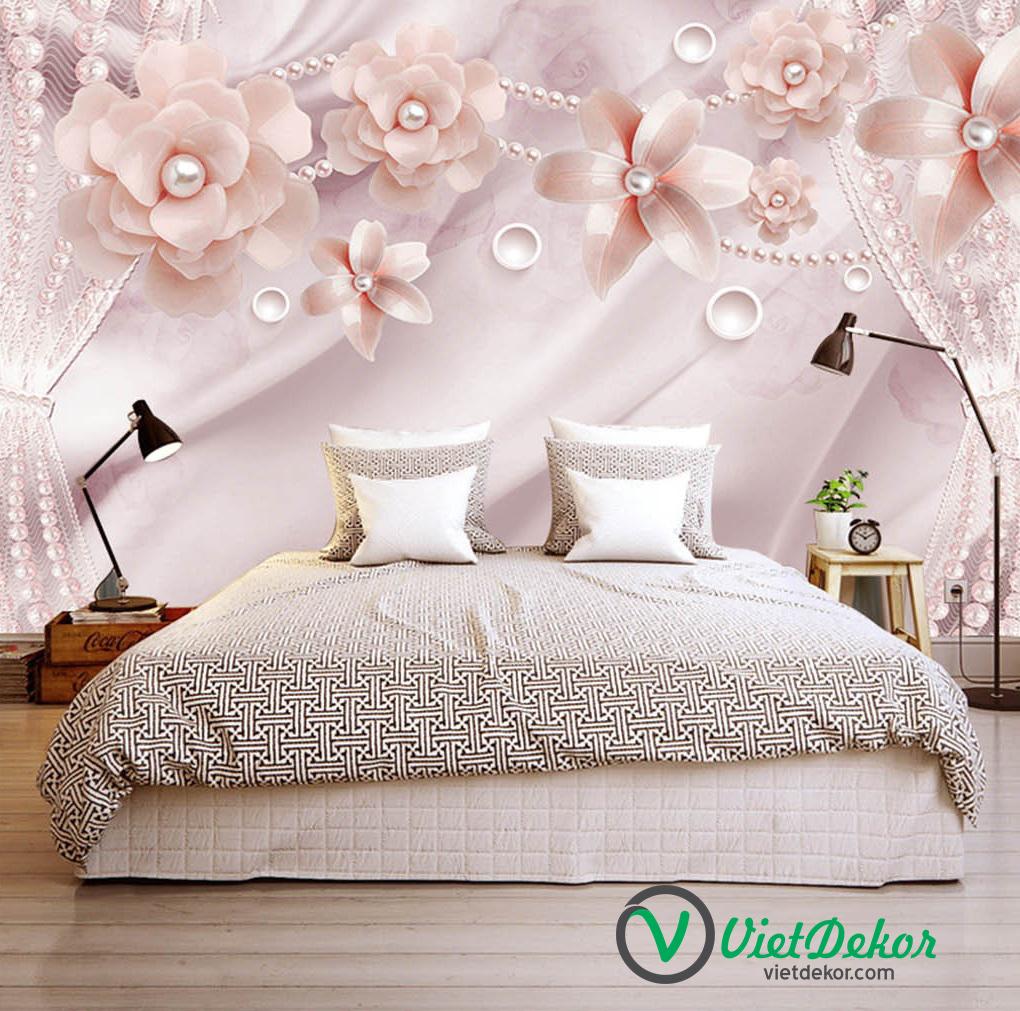 Tranh dán tường 3d hoa ngọc trai trang trí phòng ngủ