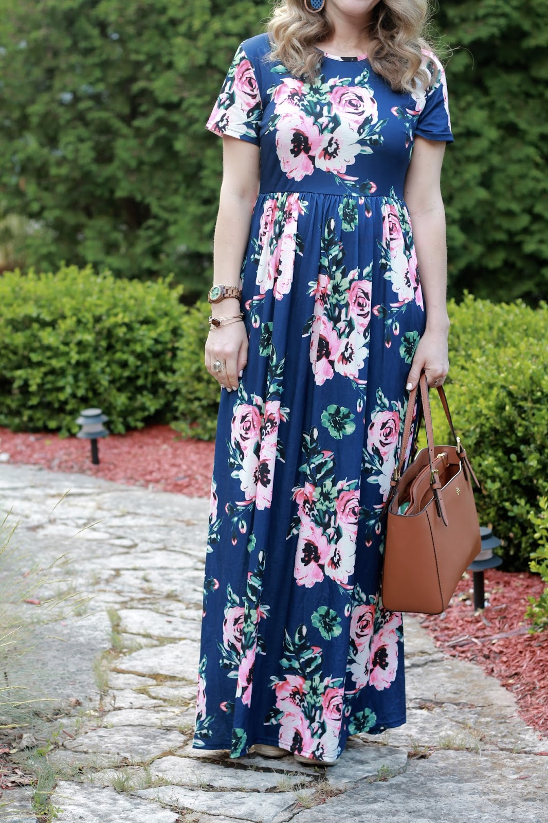 short sleeved blue floral maxi dress, wooden statement earrings, Tory Burch tote, second trimester maternity outfit