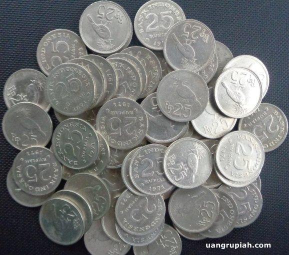 Uang Koin Logam Kuno 25 Rupiah Tahun 1971 Gambar Burung