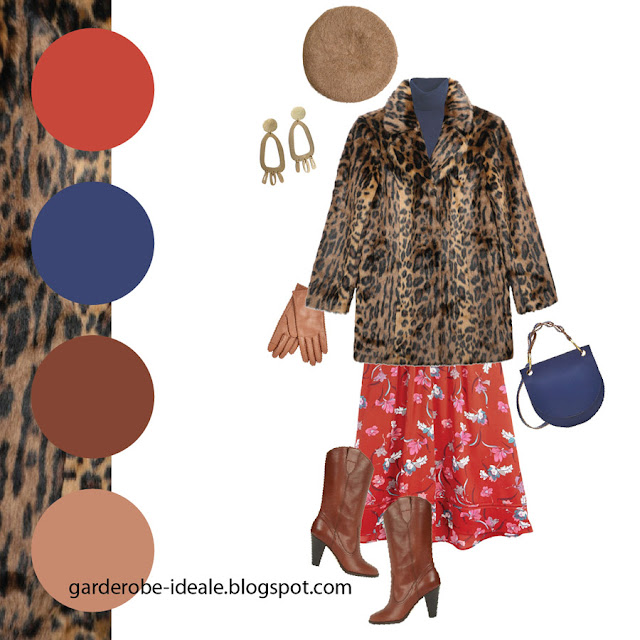 Сочетание леопардовой шубы с красным платьем с цветочным принтом и синей сумкой и водолазкой