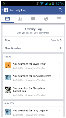 Delete Activity Log Facebook